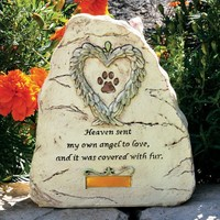 Pet Memorial Garden Stone - Paw Print with Heart Angel Wings Design Heaven Sent My Own Angel to Love and It Was Covered with Fur In Memory of Dog Cat Pet Loss Gifts Pet Remembrance - Sympathy Gifts