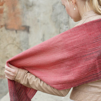 red handwoven wrap merino wool scarf for her