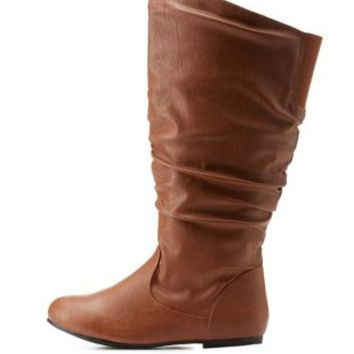 Cognac Wide Calf Flat Ruched Mid-Calf Boots by Charlotte Russe