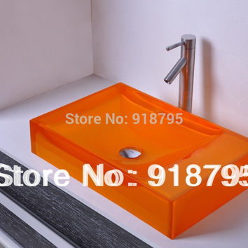 Rectangular Bathroom Resin Counter Top Sink Vessel Cloakroom Vanity Above Counter colourful wash basin  RS38247