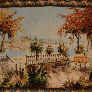 Tache 28 x 47 Inches Summer Ocean View Table for Two Tapestry Wall Hanging With Hanging Loops