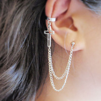 Cross Double Chain Ear Cuff (Pair)