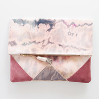SUNSET 76 / Shibori dyed cotton & Natural leather folded clutch bag - Ready to Ship
