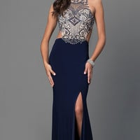 Mock Two Piece Jewel Embellished Bodice Floor Length Dress