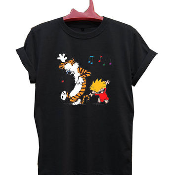Calvin & Hobbes crazy song T-Shirt Men, Women and Youth size S-2XL