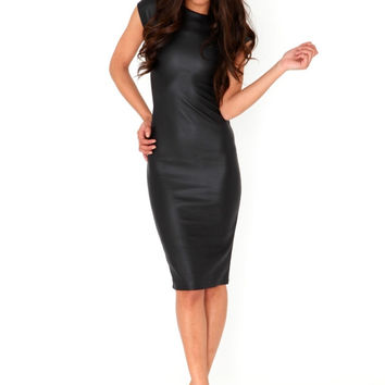 Bikini Luxe Black Faux Leather Dress