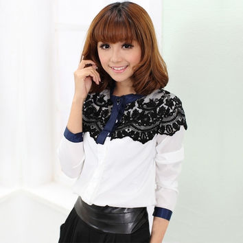 European Fashion Cape-Style Lace Blouses Long Sleeve Shirts For Women Spring Autumn Tops
