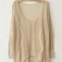 Twist Hollow-out Beige Sweater - Designer Shoes|Bqueenshoes.com