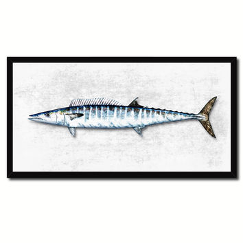 Wahoo Fish White Canvas Print Picture Frame Gifts Home Decor Nautical Wall Art