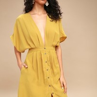 Poppy Mustard Yellow Button-Up Midi Dress