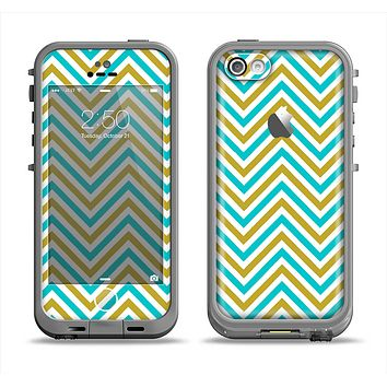 The Gold & Blue Sharp Chevron Pattern Apple iPhone 5c LifeProof Fre Case Skin Set