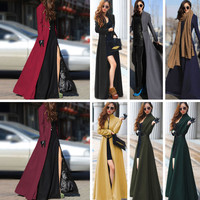Stand Collar Zippered Pleated Maxi Coat