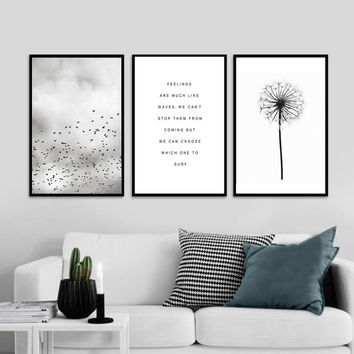 Abstract Landscape Quotes Canvas Painting Black White Poster Print Nordic Wall Art Picture for Living Room Home Decor Unframed