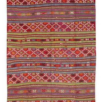 Kilim Rug - Turkish Striped Kilim Rug - Geometric Rug - Stylish Outdoor Kilim Rug - Antique Turkish Area Rug - Oriental Rugs - Bohemian Rug