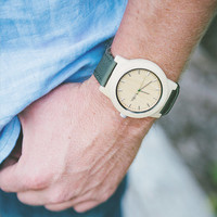 Real Wood Minimalist Watch - Made from Maple Wood and Dark Green Canvas Strap - KNTY-C