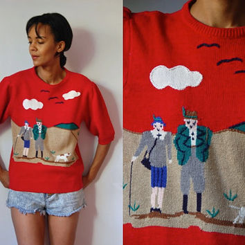 Vtg Hunting Couple Knit Retro Red SS Sweater