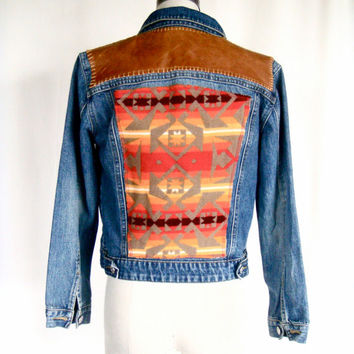 Levi Denim Jacket with Handstiched Leather & Pendleton Back.