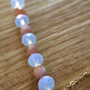 Sunstone moonstone bead bar gold necklace / bridesmaid necklace / dainty necklace / minimaist necklace / birthstone necklace
