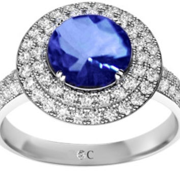 Round genuine tanzanite natural diamonds split engagement ring 2.64 carat