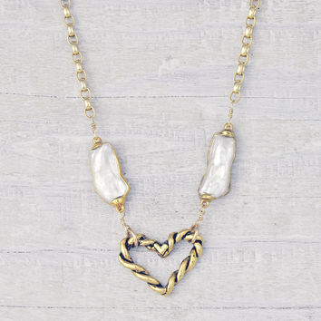 Golden Twisted Heart Necklace