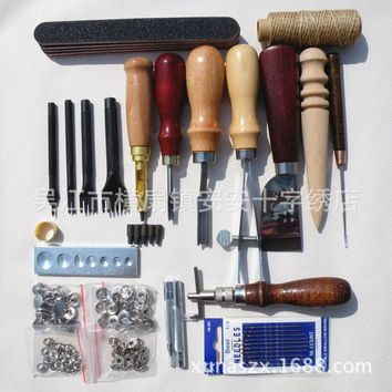 Leather Tool Set Carving Punching Hole Cutting Knife Manual Suture Needle Gas Eyes Burnish Peeling Edge Process for Leather Belt