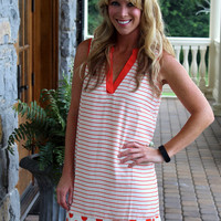 Dot It, Stripe It, Mark it with a T Orange Dress