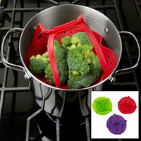 Evelots Kitchen Silicone Steamers W/ Flexible Handles Cooking - Assorted Colors
