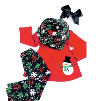 RTS Red Snowman Scarf Set w/ Snowflakes D19