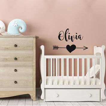 Personalized Name Wall Decal- Girls Name Wall Decal- Arrow Heart Wall Decal Girl- Nursery Girl Decor- Name Wall Decal Girl Room Decor #117