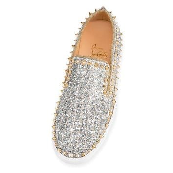 Cl Christian Louboutin Pik Boat Woman Flat Silver/light Gold Glitter 18s Sneakers 1180553s017