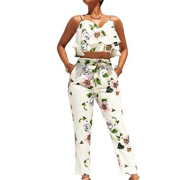 Sexy Crop Tops and Pants Set Fashion Floral Print Women 2 Piece Set Summer Style Spaghetti Strap Short Tees and Long Pants Suit