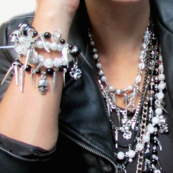 Rock Necklace, Pin and Skull Necklace