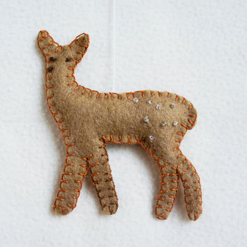 Deer ornament felt, handmade, Christmas ornament, Birthday gift, nursery decor, home decoration