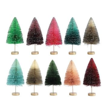 "Set of 10 Bottle Brush Christmas Trees in Rainbow Hues - 11"" Tall"