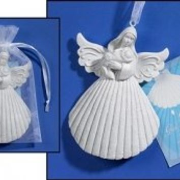 """Baptism Shell Angel Keepsake. Size: 4"""" H, 2 X 3"""" H Card. Card Contains a Blessing for the Child's Baptism Day. Sacraments Are Signs Instituted By Christ That Give the Grace They Signify. Baptism in Water, Represented By the Shell, Gives Us the Indescribabl"""