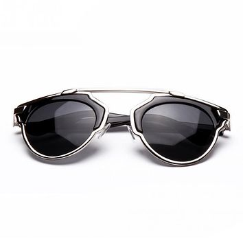 Unisex Vintage Metal Female Cateyes Eyewear Gafas Luxury Brand Women Designer Retro Men Sunglasses
