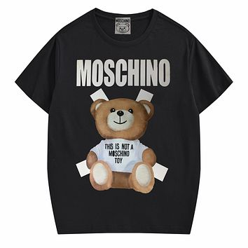 Moschino New fashion letter bear print couple top t-shirt Black