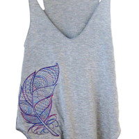 Womens Embroidered Grey Summer Loose V-Neck Tank Top (Large Multicolored Feather Design)