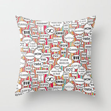 wow look lol Throw Pillow by Sharon Turner