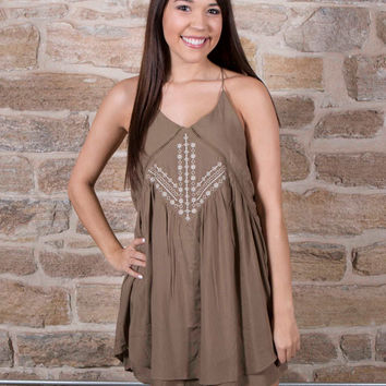 Olive front embroidered tank dress