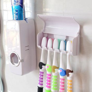 AutomaticToothpaste Dispenser toothbrush Holder wall suction hook Bathroom Hanging distributeur dentifrice Cup Tumbler HoldersAA