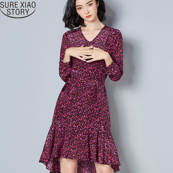 Sure Xiao Story new printed silk chiffon dress desigual long temperament 816A 30