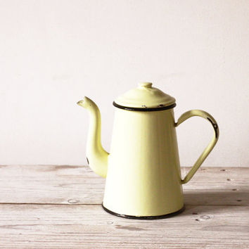 Yellow enamel coffee pot, Enamel cafetière, French vintage kitchenware