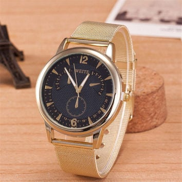 Womens Girls Classic Black Casual Sports Watches Gold Alloy Strap Watch Best Christmas Gift 398
