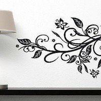 Wall Sticker Branch Leaves Flower Liana Stars Vinyl Decal Unique Gift (n316)