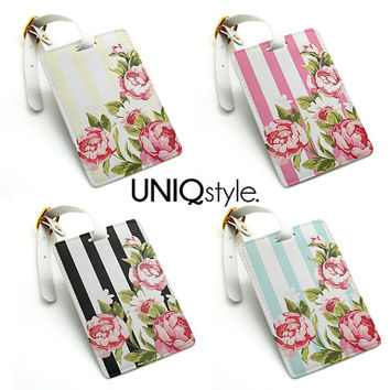 Luggage tag - floral flower with stripes - travel bag tag, name tag, office tag, suitcase tag with straps - L77