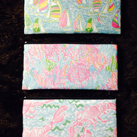 Lilly Pulitzer Fabric Waterproof Makeup Bag / Cosmetic Pouch (also makes a great pencil case!)