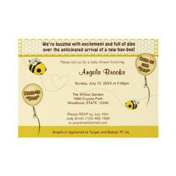 BEE Baby Shower Invitation - Cute as can bee from Zazzle.com