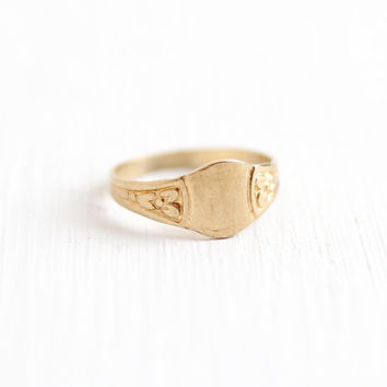 Antique Art Deco 10k Yellow Gold Blank Signet Baby Ring - Vintage Early 1900s Size 1/2 Floral Flower Initial Personalize Children's Jewelry