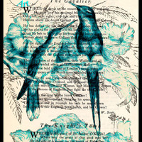 Blue Long Tailed Birds Drawing Beautifully Upcycled Vintage Dictionary Page Book Art Print, Bird Print